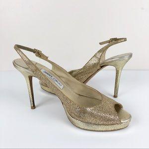 Jimmy Choo Metallic Gold Clue Peep Toe Heels